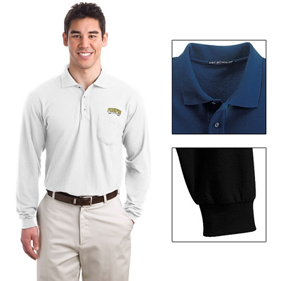 Customized Port Authority K500LSP Men's 5 oz Long Sleeve Silk Touch Polo with Pocket