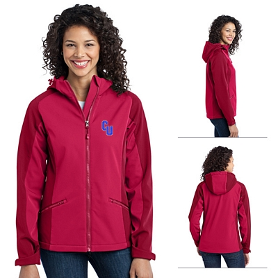 Customized Port Authority L312 Ladies Gradient Hooded Soft Shell Jacket