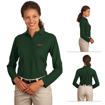 Customized Port Authority L500LS Ladies 5 oz Long Sleeve Silk Touch Polo