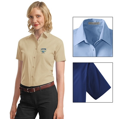 Customized Port Authority L633 Ladies Short Sleeve Value Poplin Shirt