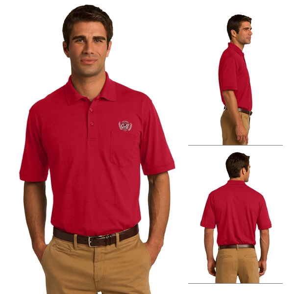 9b1b7d87c6f Port   Company KP55P Adult 5.5 oz Jersey Knit Pocket Polo ...