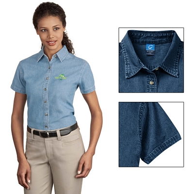 Customized Port & Company LSP11 Ladies Short Sleeve Value Denim Shirt