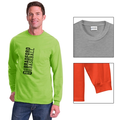 Customized Port & Company PC61LSP Long Sleeve Essential T-Shirt with Pocket