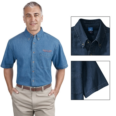 Customized Port & Company SP11 Men's Short Sleeve Value Denim Shirt