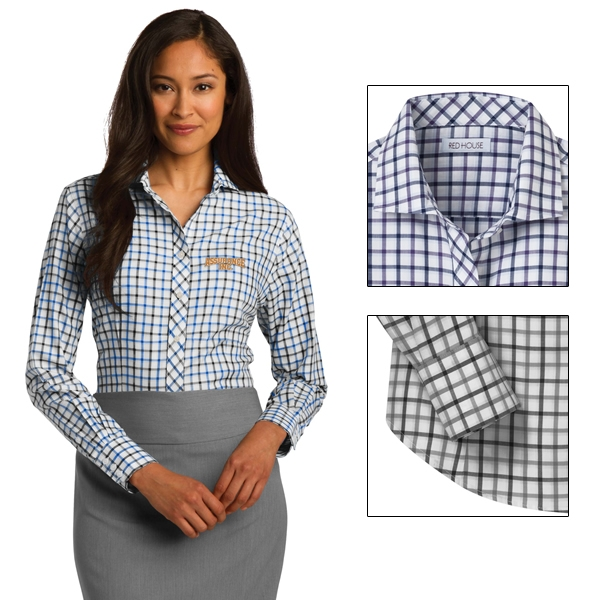 Red house rh75 ladies tricolor check non iron shirt for Ladies non iron shirts