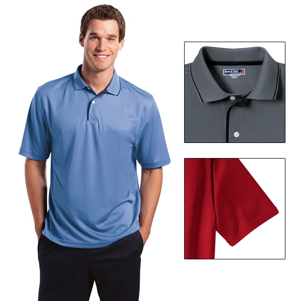 42d40acb 330586 Sport-Tek K467 Dri-Mesh Polo with Tipped Collar and Piping ...