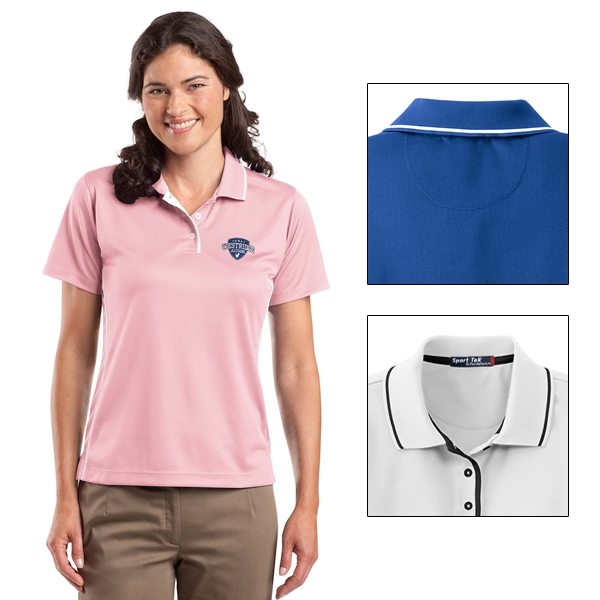 f236819f Sport-Tek L467 Ladies Dri-Mesh Polo with Tipped Collar and Piping ...