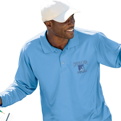 Customized UltraClub 8405LS Adult Cool & Dry Sport Long-Sleeve Polo