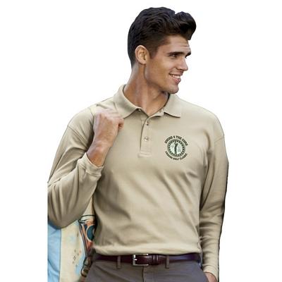 Customized UltraClub 8501 Men's Egyptian Interlock Long-Sleeve Polo