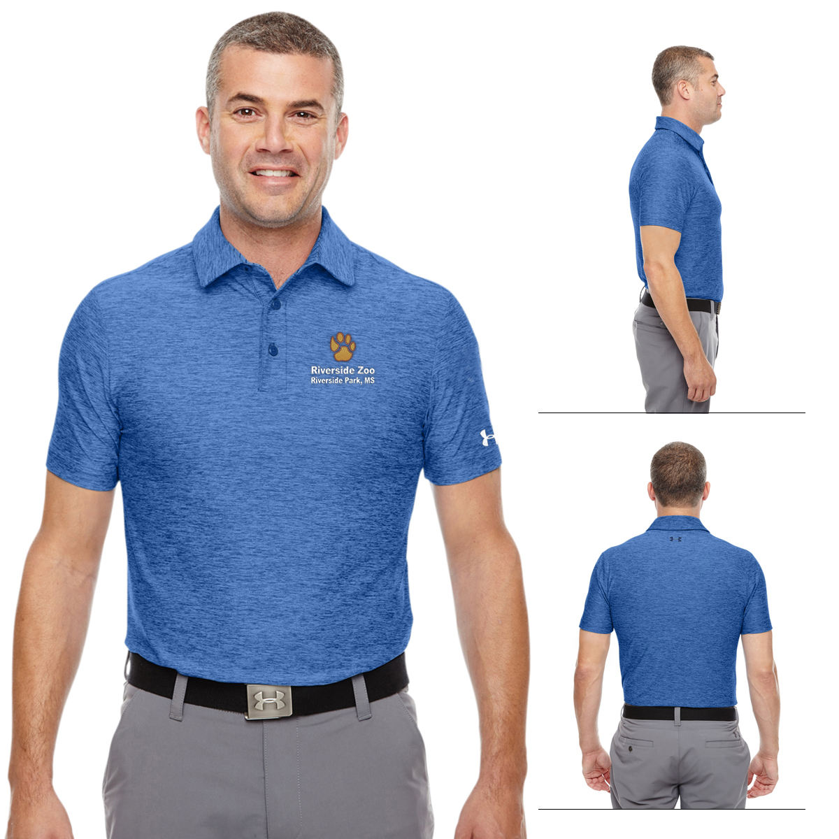 Customized under armour men 39 s playoff polo promotional for Under armor business shirts