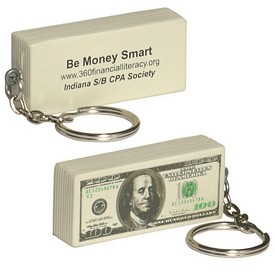 Promotional 100 Bill Key Chain Stress Reliever