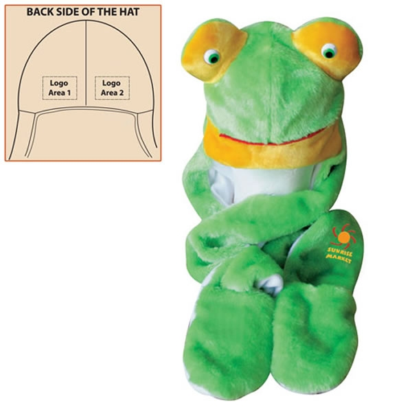 Promotional Long Arm & Pocket Frog Plush Animal Hat