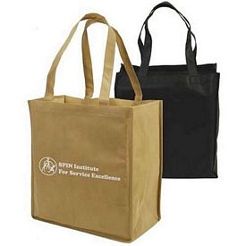 Custom Food Shopper Non-Woven Full Gusseted Shopping Tote Bag