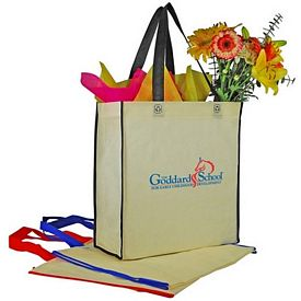 Promotional Two-Tone Vertical Shopping Tote Bag