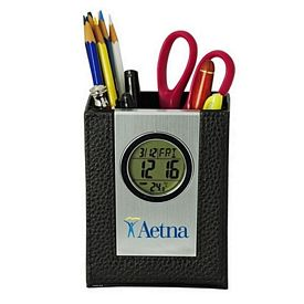 Promotional Leather Pen Holder With Lcd Clock-Thermometer