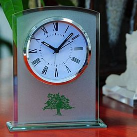 Promotional Sandblast Finish Glass Table Alarm Clock