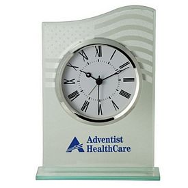 Customized Us Flag Glass Table Alarm Clock