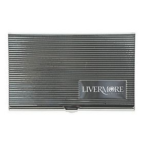 Customized Stipe Pattern Lid Metal Business Card Case