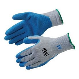 Promotional Grey And Blue Textured Latex Palm Coated Gloves