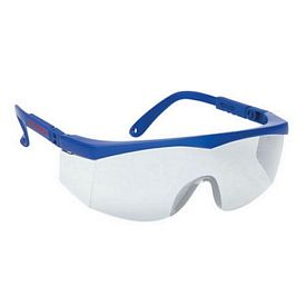 Promotional Large Single-Lens Grey Lens Safety Glasses With Blue Ratchet Temples