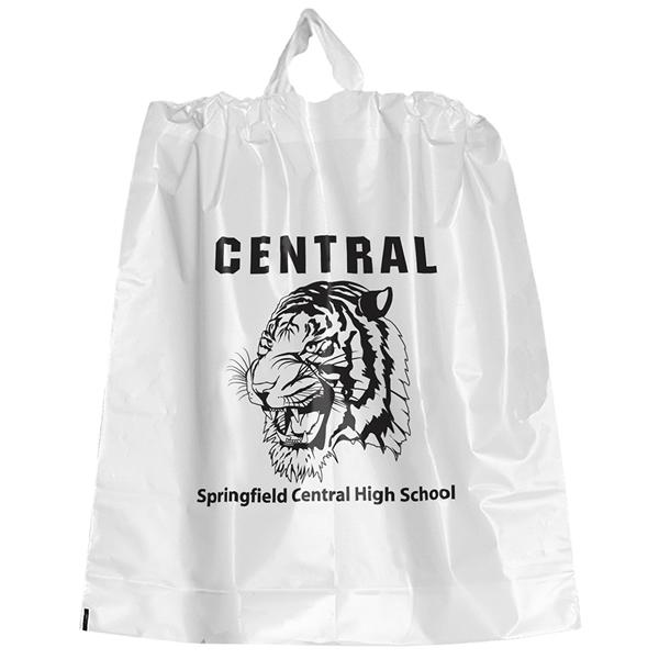 Promotional 18x20 poly chord plastic drawstring bag for Custom plastic t shirt bags