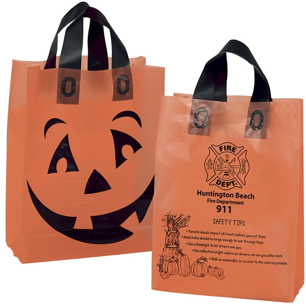 Promotional orange frosted pumpkin halloween candy plastic for Custom plastic t shirt bags