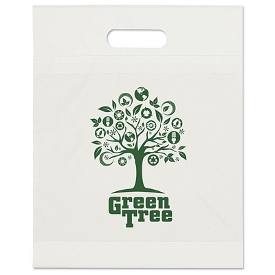 Promotional 12x15x3 Eco Recycled Die Cut Shopping Bag