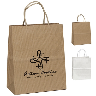 Promotional 7x9 Hollywood Uptown Striped Paper Tote Bag