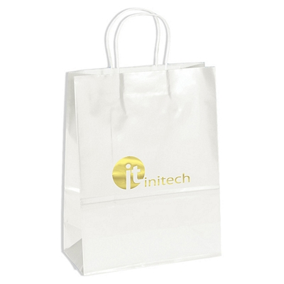 Promotional 10x13 Amber White Gloss Paper Shopping Bag