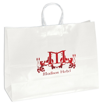 Promotional 16x12 Aubrie White Gloss Paper Shopping Bag