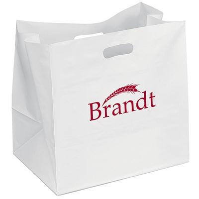 Promotional 10 wide chuckwagon plastic carry bag for Custom plastic t shirt bags