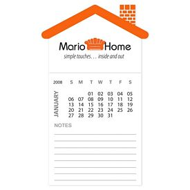 Custom Bic House Magnet With 12 Sheet Calendar Notepad