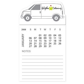 Promotional Bic Van Truck Magnet With 12 Sheet Calendar Notepad