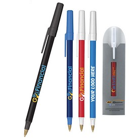 Custom Bic Round Stic Antimicrobial Pen And Sleeve