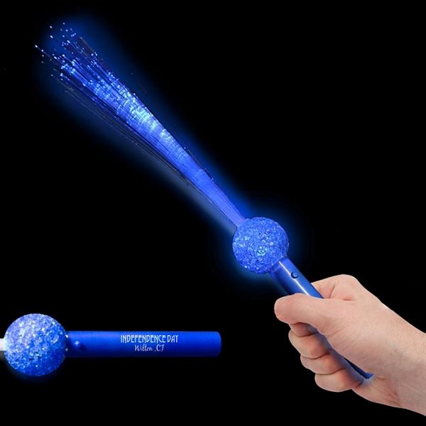 Promotional 15 39 39 light up blue led flashing fiber optic for Light up wand