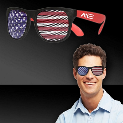 Promotional American Flag Neon Red Billboard Sunglasses