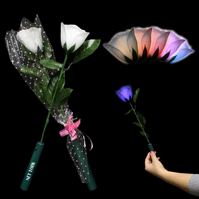 Promotional 14'' Light-Up Multi Colored LED's White Roses 12 Pack