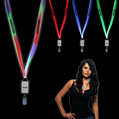 Promotional Light-Up LED Lanyard with Badge Clip