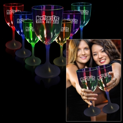 Promotional 10 oz White Base Light-Up Wine Glass