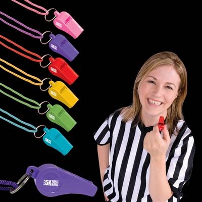 Promotional 2'' Plastic Whistle Lanyard