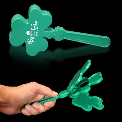 Promotional 7-1/2'' Green Shamrock Shaped Hand Clappers