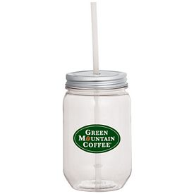 Promotional Mason Jar 22 Oz With Silver Tin Lid