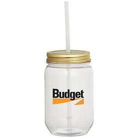 Promotional Mason Jar 22 Oz With Gold Tin Lid