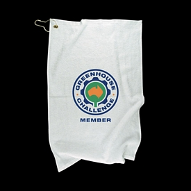 Promotional Finished Edge Grommet Golf Towel