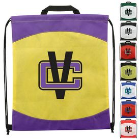 Customized Spirit Two-Tone Non-Woven Drawstring Backpack