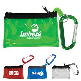 Promotional Carabiner With Key Tag Pouch