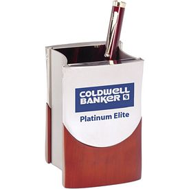 Promotional Rosewood And Silver Metal Pen Holder
