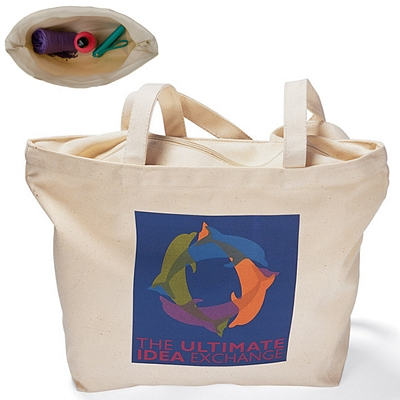 Promotional 12 oz Cotton Zippered Tote Bag