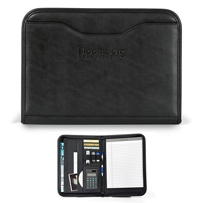 Promotional Wall Street 10x13.75 Zippered Calculator Padfolio