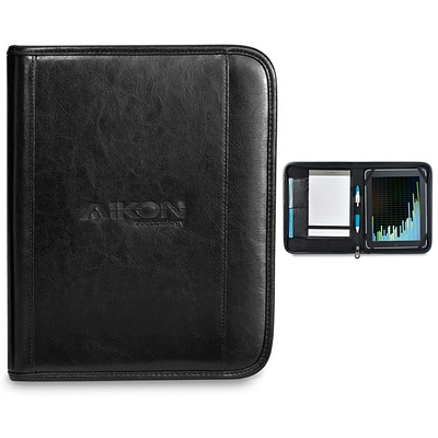 Promotional Deluxe 9.25x11.25 Zippered Leather Wired-E Padfolio